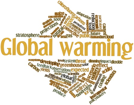 Abstract word cloud for Global warming with related tags and terms photo