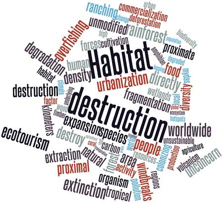 Nube palabra abstracta para la destrucción del hábitat con las etiquetas y términos relacionados Foto de archivo - 16499066