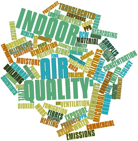 infiltration: Abstract word cloud for Indoor air quality with related tags and terms