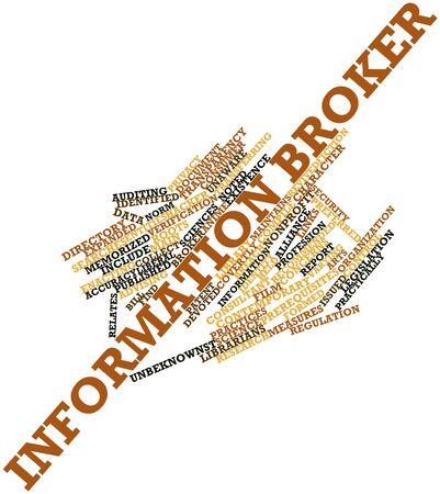 Nuage de mot abstrait pour le courtier d'information avec des étiquettes et des termes connexes