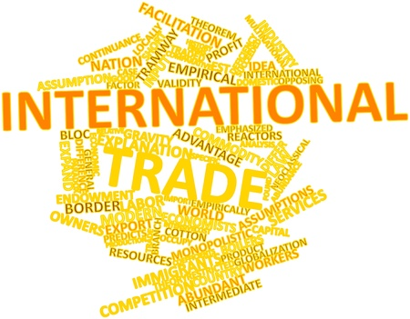 continuum: Abstract word cloud for International trade with related tags and terms Stock Photo