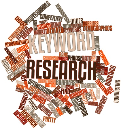 Abstract word cloud for Keyword research with related tags and terms