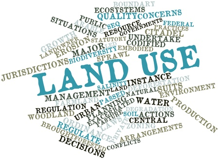 jurisdictions: Abstract word cloud for Land use with related tags and terms Stock Photo