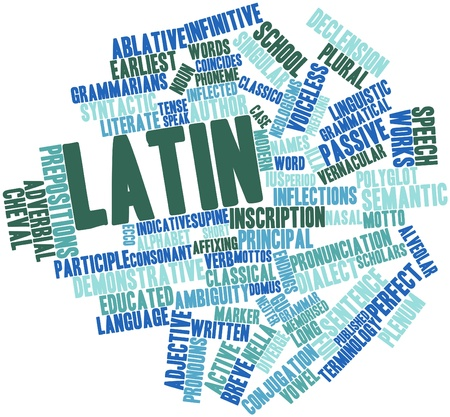 polyglot: Abstract word cloud for Latin with related tags and terms