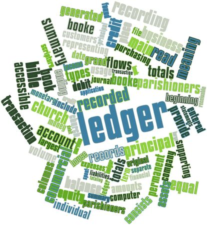 church service: Abstract word cloud for Ledger with related tags and terms Stock Photo