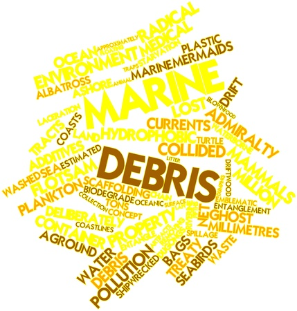 millimetres: Abstract word cloud for Marine debris with related tags and terms