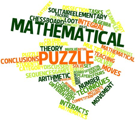 satisfies: Abstract word cloud for Mathematical puzzle with related tags and terms