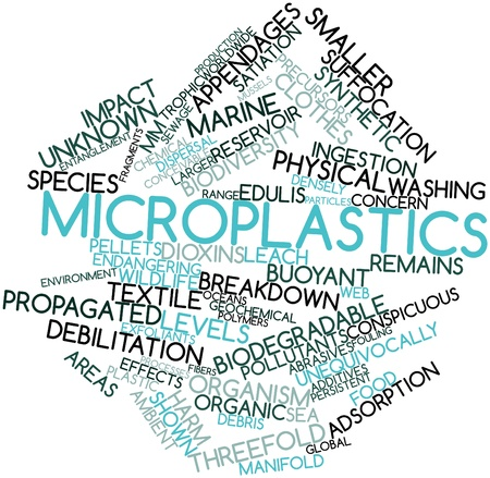buoyant: Abstract word cloud for Microplastics with related tags and terms Stock Photo