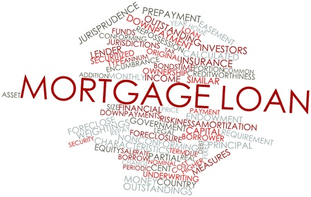 repossession: Abstract word cloud for Mortgage loan with related tags and terms