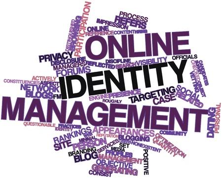 personal identity: Nube palabra abstracta para la gesti�n de identidades en l�nea con las etiquetas y t�rminos relacionados Foto de archivo