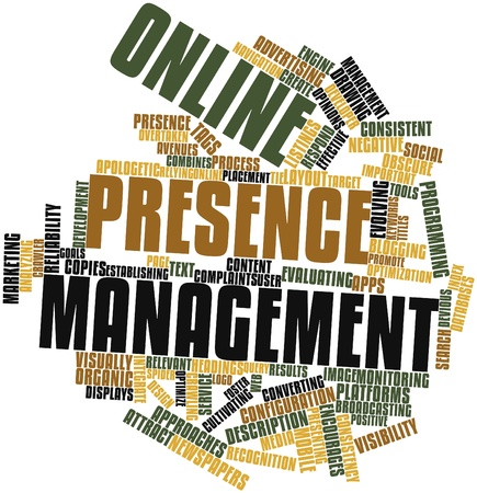 Abstract word cloud for Online presence management with related tags and terms photo