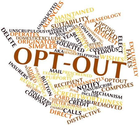Abstract woordwolk voor Opt-out met alle gerelateerde tags en termen