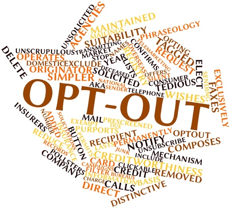 campaigns: Abstract word cloud for Opt-out with related tags and terms