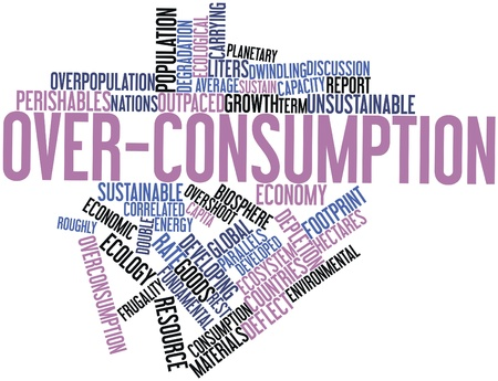 correlated: Abstract word cloud for Over-consumption with related tags and terms Stock Photo