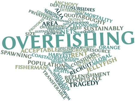 vulnerable: Abstract word cloud for Overfishing with related tags and terms Stock Photo