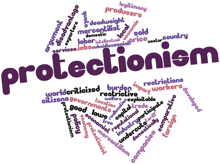 protectionism: Abstract word cloud for Protectionism with related tags and terms Stock Photo