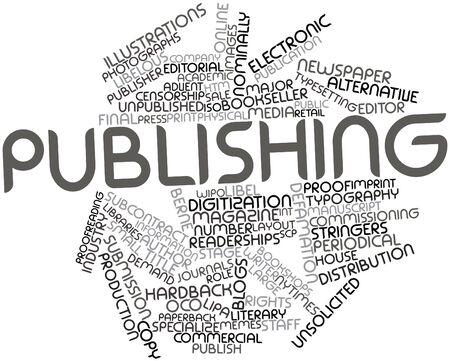 Abstract woordwolk voor Uitgeverijen met gerelateerde tags en voorwaarden