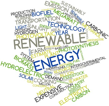 sustainably: Abstract word cloud for Renewable energy with related tags and terms