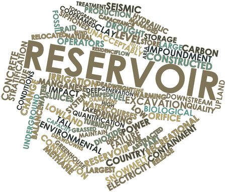 pumped: Abstract word cloud for Reservoir with related tags and terms Stock Photo