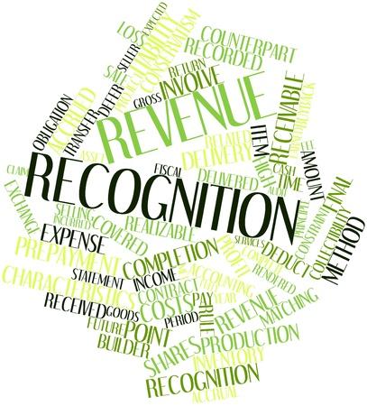 reconocimiento: Nube palabra abstracta para Reconocimiento de ingresos con las etiquetas y términos relacionados Foto de archivo