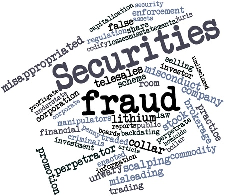 investors: Abstract word cloud for Securities fraud with related tags and terms