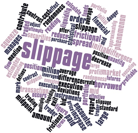 executing: Abstract word cloud for Slippage with related tags and terms Stock Photo