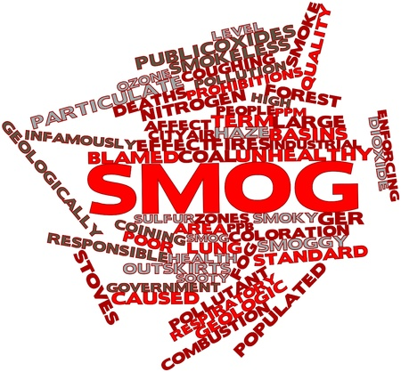 sooty: Abstract word cloud for Smog with related tags and terms Stock Photo