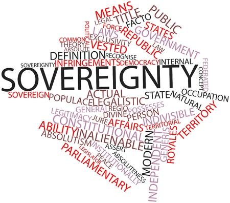 possesses: Abstract word cloud for Sovereignty with related tags and terms Stock Photo