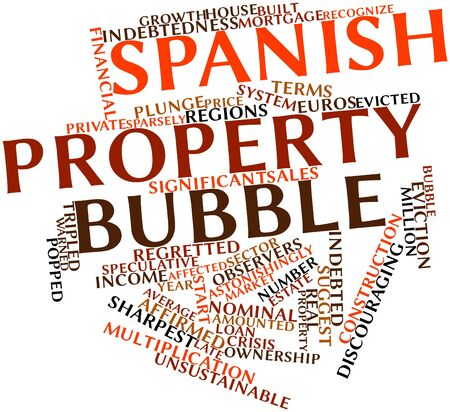 affirmed: Abstract word cloud for Spanish property bubble with related tags and terms