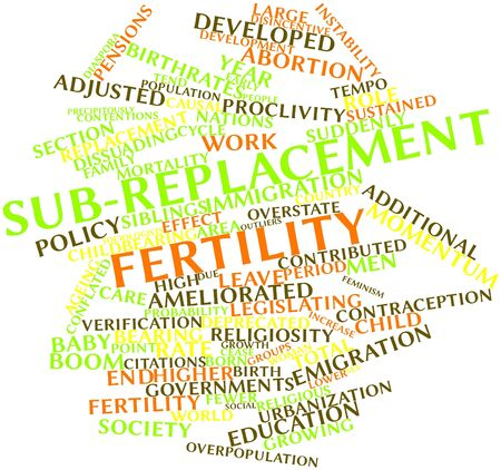 Abstract word cloud for Sub-replacement fertility with related tags and terms Stock Photo