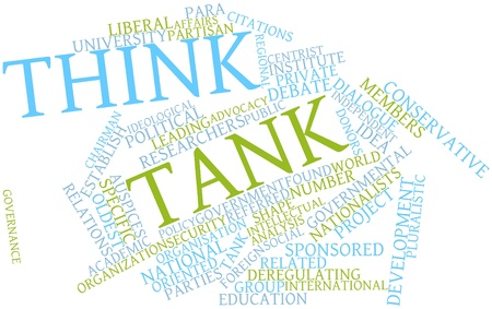 partisan: Abstract word cloud for Think tank with related tags and terms Stock Photo