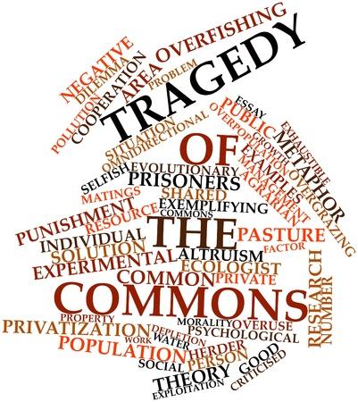 Nube palabra abstracta por la tragedia de los comunes con las etiquetas y términos relacionados Foto de archivo