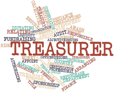 oversee: Abstract word cloud for Treasurer with related tags and terms