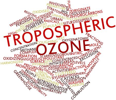 oxidizing: Abstract word cloud for Tropospheric ozone with related tags and terms