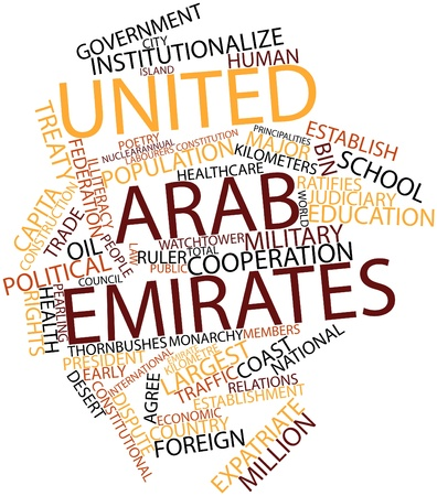 kilometre: Abstract word cloud for United Arab Emirates with related tags and terms Stock Photo