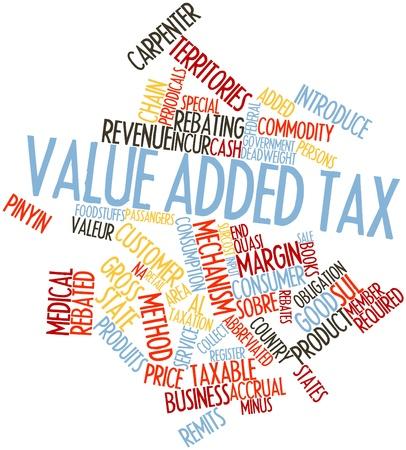 wartości: Abstract cloud słowo podatku od towarów i związanych z nimi tagów oraz warunków