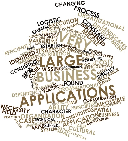 originate: Abstract word cloud for Very Large Business Applications with related tags and terms Stock Photo
