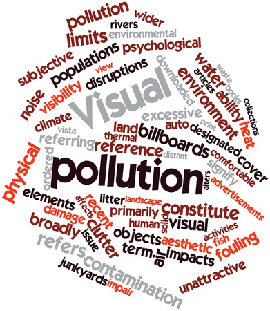 unattractive: Abstract word cloud for Visual pollution with related tags and terms Stock Photo