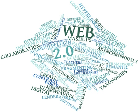 Abstract word cloud for Web 2.0 with related tags and terms photo