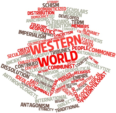 Abstract word cloud for Western world with related tags and terms Stock Photo - 16499196