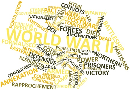 annexed: Abstract word cloud for World War II with related tags and terms Stock Photo