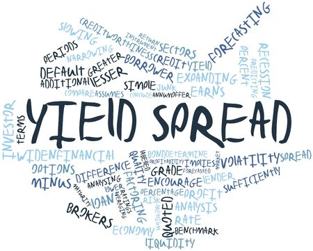 spread the word: Abstract word cloud for Yield spread with related tags and terms Stock Photo