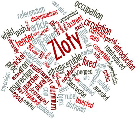 Abstract word cloud for Zloty with related tags and terms Stock Photo - 16499197