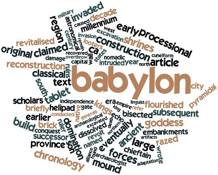 Abstract word cloud for Babylon with related tags and terms Stock Photo - 16498597