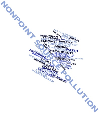 impervious: Abstract word cloud for Nonpoint source pollution with related tags and terms Stock Photo