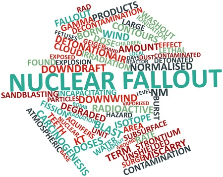 geiger: Abstract word cloud for Nuclear fallout with related tags and terms Stock Photo