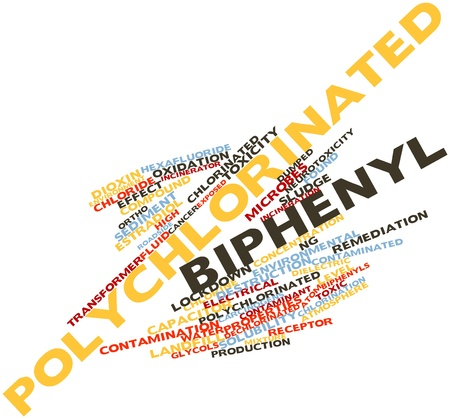 biphenyl: Abstract word cloud for Polychlorinated biphenyl with related tags and terms