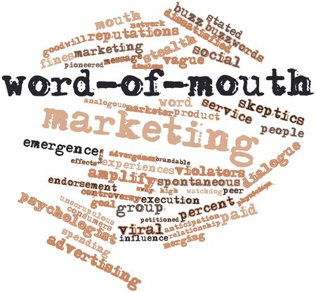 stated: Abstract word cloud for Word-of-mouth marketing with related tags and terms