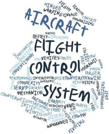 deflect: Abstract word cloud for Aircraft flight control system with related tags and terms