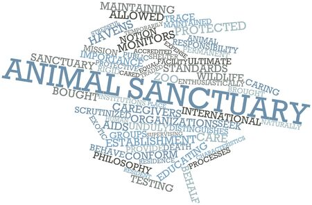 animal related: Abstract word cloud for Animal sanctuary with related tags and terms Stock Photo